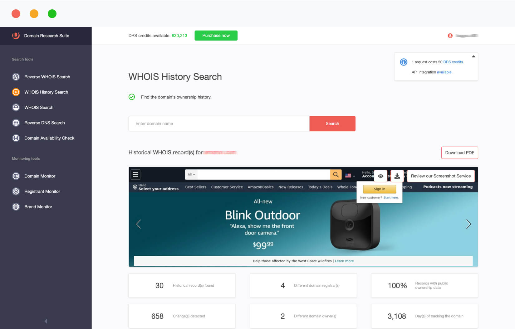WHOIS History Search